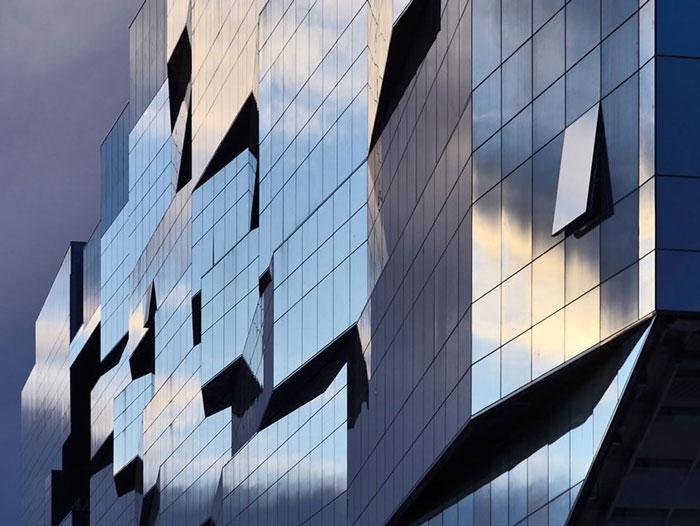 نمای شیشه ای کرتین وال نیم فیس کپ - نمای کرتین وال - نمای شیشه ای کرتین وال