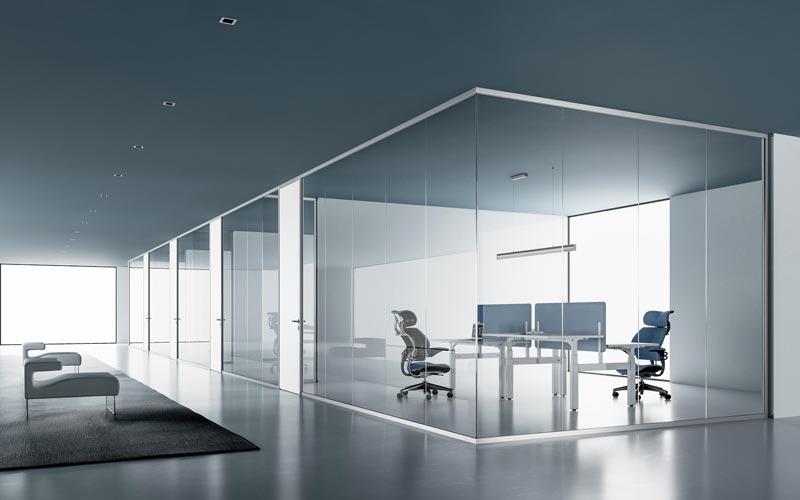 پارتیشن شیشه ای اداری فریم دار مناسب برای تقسیم بندی و طراحی داخلی شرکت ها و ادارات